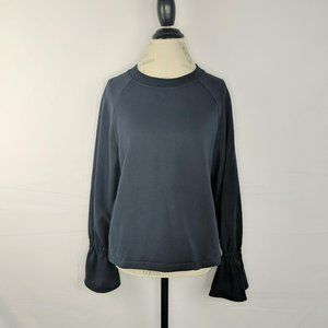 Tibi Blue Ruffle Flare Sleeve Fleece Sweater